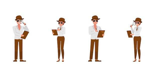 Spia agente segreto personaggio disegno vettoriale. presentazione in varie azioni. no4