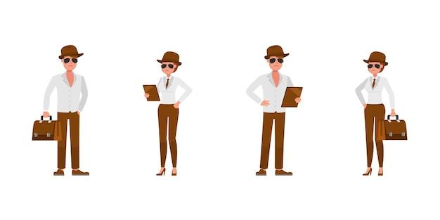 Spia agente segreto personaggio disegno vettoriale. presentazione in varie azioni.
