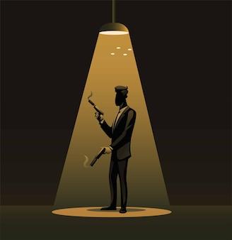 Spia in smoking che tiene la pistola sillhouette sotto l'illustrazione del simbolo del riflettore