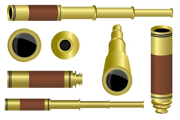 Illustrazione di progettazione del cannocchiale isolata su fondo bianco
