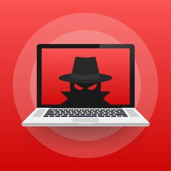 Spyware, tecnologia internet. segnale di stop, icona. simbolo di pericolo. concetto di hacking del computer. illustrazione
