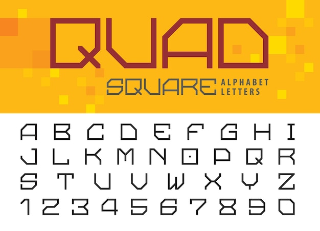 Alfabeto quadrato lettere e numeri