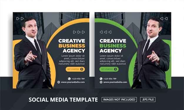 Banner quadrato per social media modello di agenzia di affari a tema