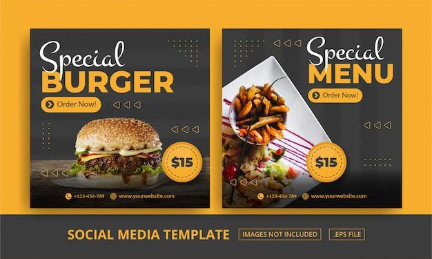 Banner a tema quadrato per social media modello alimentare a tema Vettore Premium