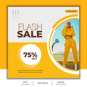 Modello di banner quadrato per post sui social media, evento di vendita flash con bella ragazza modello di moda elegante semplice giallo