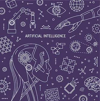Modello di banner quadrato con testa di robot, braccio robotico, manipolatore automatico, dispositivi tecnologici innovativi. intelligenza artificiale e apprendimento automatico. illustrazione vettoriale monocromatica in stile lineare.