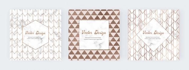 Banner quadrati con linee dorate geometriche sulla trama di marmo.
