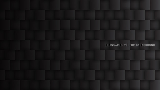 Fondo astratto nero di tecnologia dei blocchi quadrati