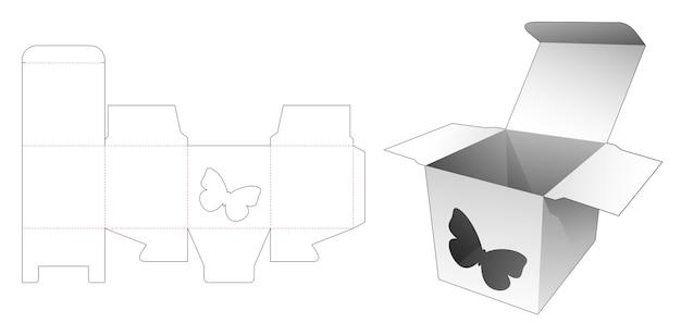 Scatola quadrata con sagoma fustellata finestra a forma di farfalla