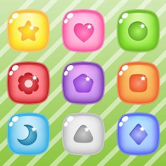 Gelatina lucida del bottone di puzzle del blocco quadrato di candy