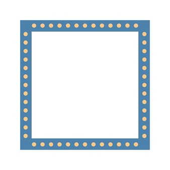 Cornice quadrata colorata blu con lampadine. illustrazione di vettore. eps10