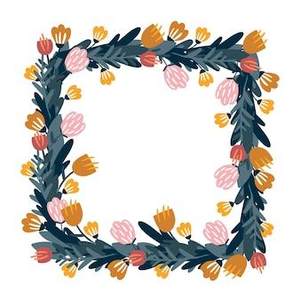 Cornice floreale quadrata disegnata a mano illustrazione vettoriale decorazione floreale piante colorate doodle style