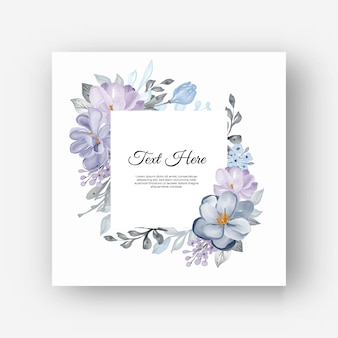 Cornice floreale quadrata con fiori lilla