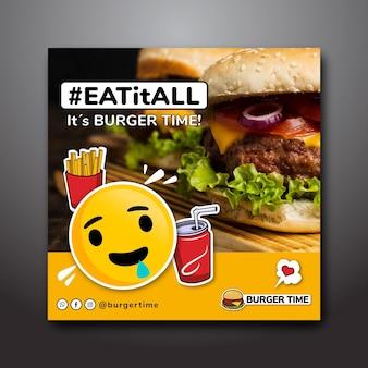 Modello di volantino quadrato per ristorante di hamburger