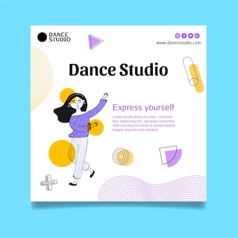 Modello di volantino quadrato per lezioni di ballo Vettore Premium