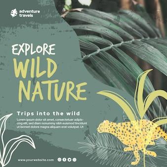 Modello di volantino quadrato per natura selvaggia con vegetazione e ghepardo