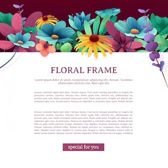 Volantino quadrato con posto per il testo. cornice superiore con fiori, foglie, ramoscelli e piante.