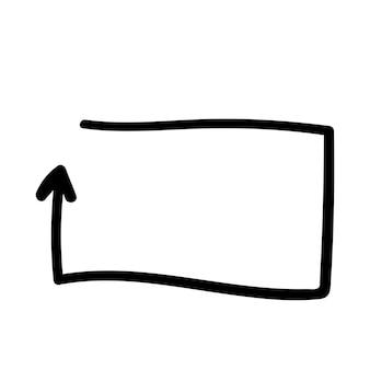 Freccia quadrata della cornice per l'elemento dell'illustrazione di vettore di schizzo del disegno della mano di scarabocchio di infographics