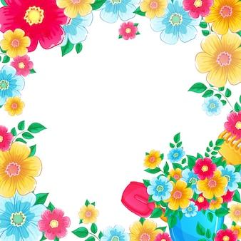 Fondo quadrato della struttura con il mazzo dei fiori in un secchio del giocattolo.