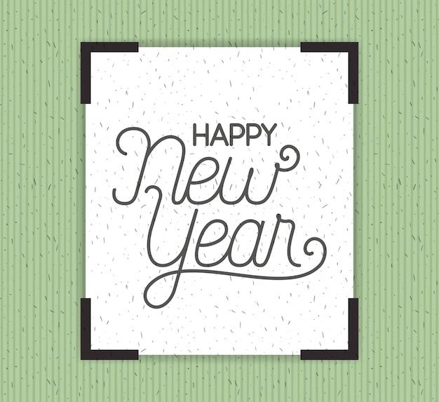 Cornice quadrata con felice anno nuovo lettering