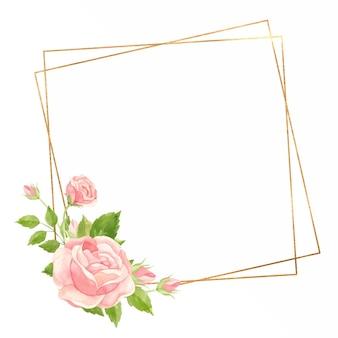 Cornice quadrata con rose rosa e cornice geometrica oro floral Vettore Premium