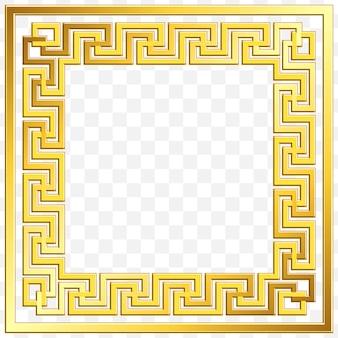 Cornice quadrata con ornamento greco dorato vintage tradizionale, motivo a meandro
