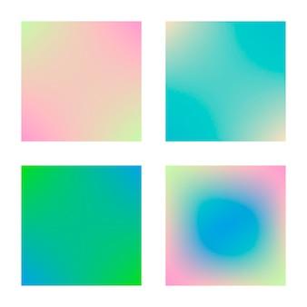 Gradiente quadrato impostato con sfondi astratti moderni. copertine fluide colorate per calendario, brochure, invito, cartoline. colore morbido alla moda. modello con gradiente quadrato impostato per schermi e app mobile
