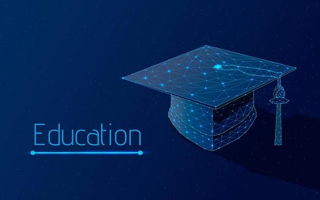 Il berretto quadrato della laurea simboleggia l'apprendimento con uno sfondo blu scuro