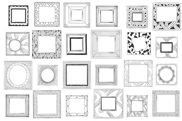 Cornici disegnate a mano quadrate.