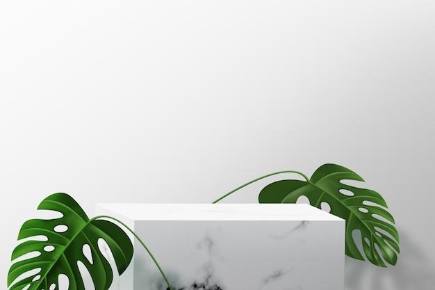 Piedistallo quadrato in marmo per esposizione prodotti. sfondo minimalista con podio vuoto e foglie di monstera.