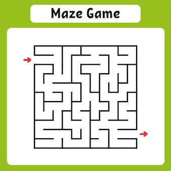 Labirinto quadrato. foglio di lavoro per lo sviluppo dell'istruzione. gioco per bambini. pagina delle attività.