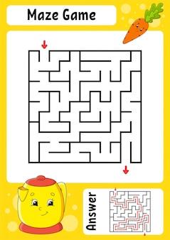 Labirinto quadrato gioco per bambini. labirinto divertente foglio di lavoro per lo sviluppo dell'istruzione. pagina delle attività.