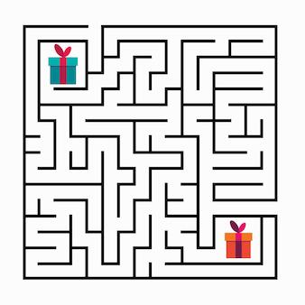 Gioco del labirinto del labirinto quadrato per bambini enigma della logica del labirinto ingressi e due modi giusti per andare