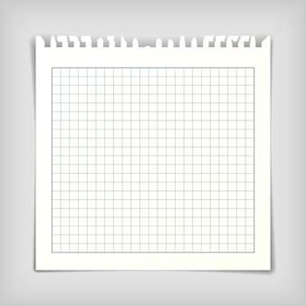 Foglio di carta per appunti quadrato con quadrati, illustrazione vettoriale realistica