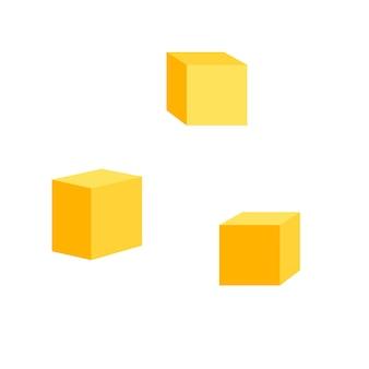 Pezzi quadrati di formaggio isolati su uno sfondo bianco illustrazione vettoriale di prodotti lattiero-caseari