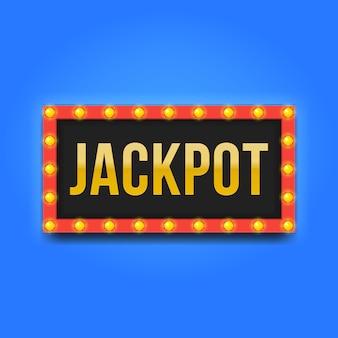 Cornice quadrata rossa con lampadine e scritta jackpot.