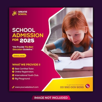 Modello di post sui social media di instagram e banner web per l'ammissione alla scuola quadrata