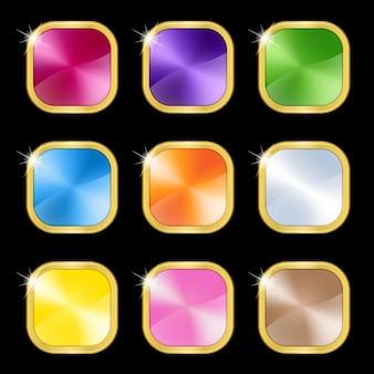 Quadrato di metallo di colore impostato con icona cornice dorata