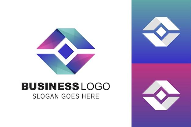 Forma quadrata e consegna della scatola espressa con modello di logo aziendale simbolo del pacchetto