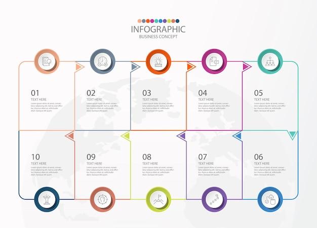 Infografica di forma quadrata con 10 passaggi, processo o opzioni, diagramma di processo, utilizzato per diagramma di processo, presentazioni, layout del flusso di lavoro, diagramma di flusso, infografica. illustrazione di vettore eps10.