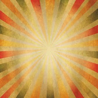 Sunburst a forma di quadrato, vecchio fondo di carta,