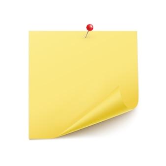 Foglio di carta quadrato con spille ad angolo arricciate con una puntina da disegno realistica