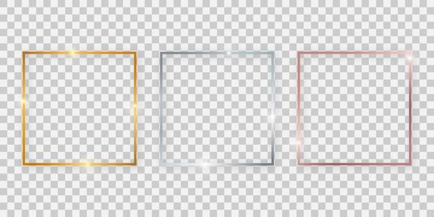 Cornici quadrate lucide con effetti luminosi. set di tre cornici quadrate oro, argento e oro rosa con ombre su sfondo trasparente. illustrazione vettoriale