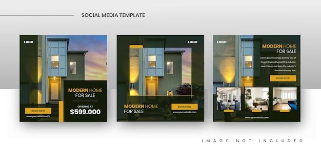 Modelli di post per la promozione della vendita di immobili sui social media quadrati