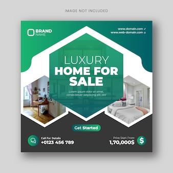 Modello quadrato di pubblicità immobiliare per post sui social media