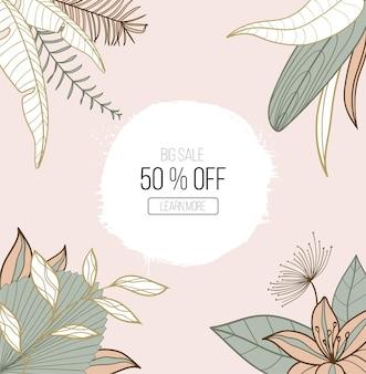 Modelli quadrati di arte astratta alla moda con foglie floreali ed esotiche