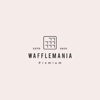 Icona vintage retrò di waffle quadrati logo hipster