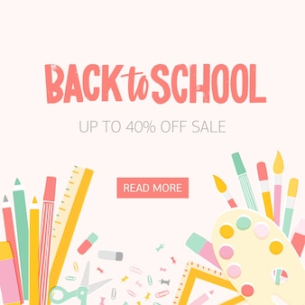 Modello quadrato dell'insegna di web per la vendita stagionale di ritorno a scuola con l'iscrizione scritta