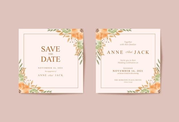 Partecipazione di nozze quadrata con bellissimi fiori ad acquerello