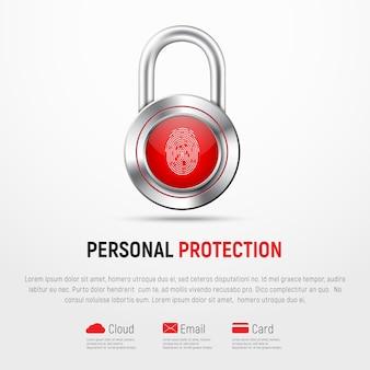 Striscione quadrato bianco con serratura metallica incernierata e impronta digitale. protezione delle informazioni personali